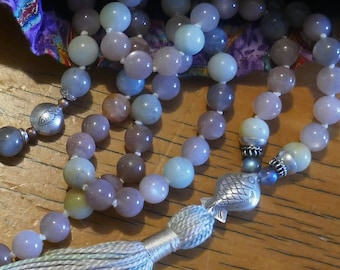 Mala: sunstone, amazonite, silver knotted 108 bead mala.  Fish theme, for yoga Japa meditation or tassel necklace. Handmade bag.