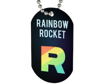 PKMN Team Rainbow Rocket Necklace Dog Tag
