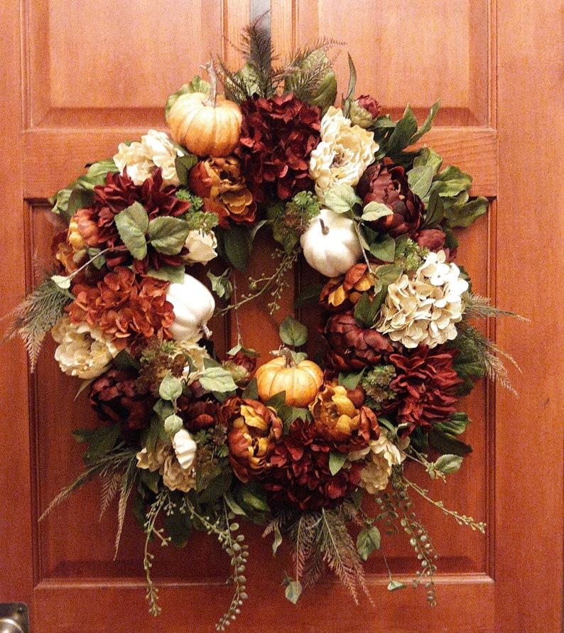 Autumn Wreath Thanksgiving Wreath XL Fall Door Wreath Peony Fall Wreath Hydrangea Wreath Fall Pumpkin Wreath