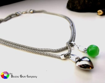 Apple and Heart Pendant with Silver Chain