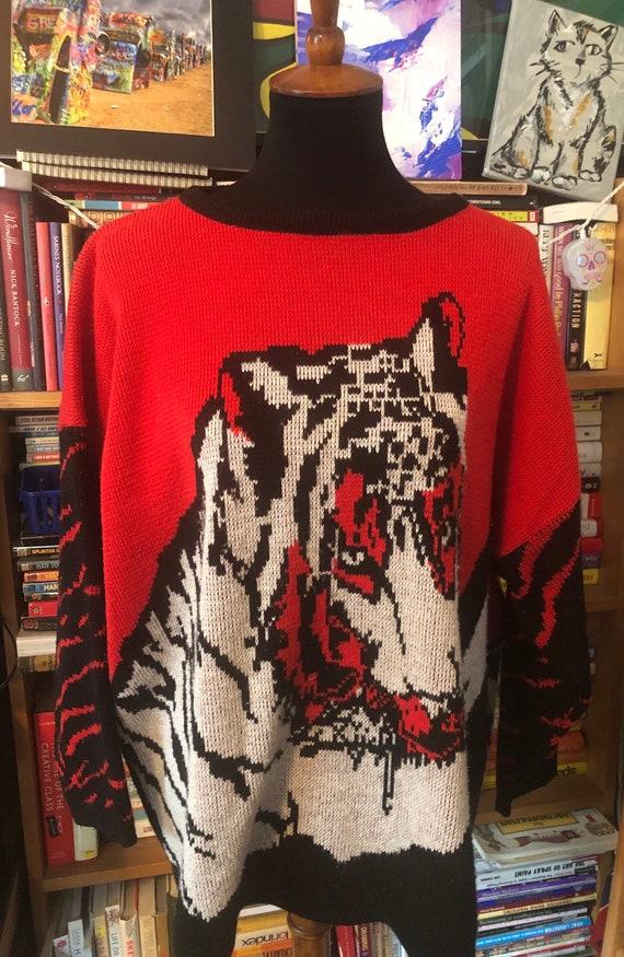 80's Oversized Metallic Tiger Sweater
