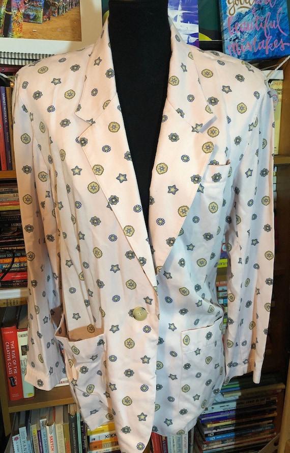 80's LizSport Petites Pastel Print Rayon Skirt Sui