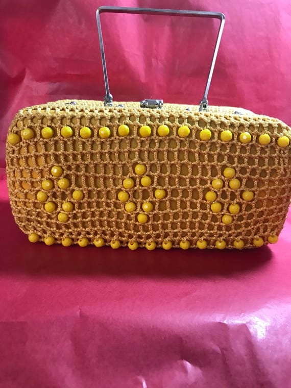 1960's Crocheted Beaded Box Handbag