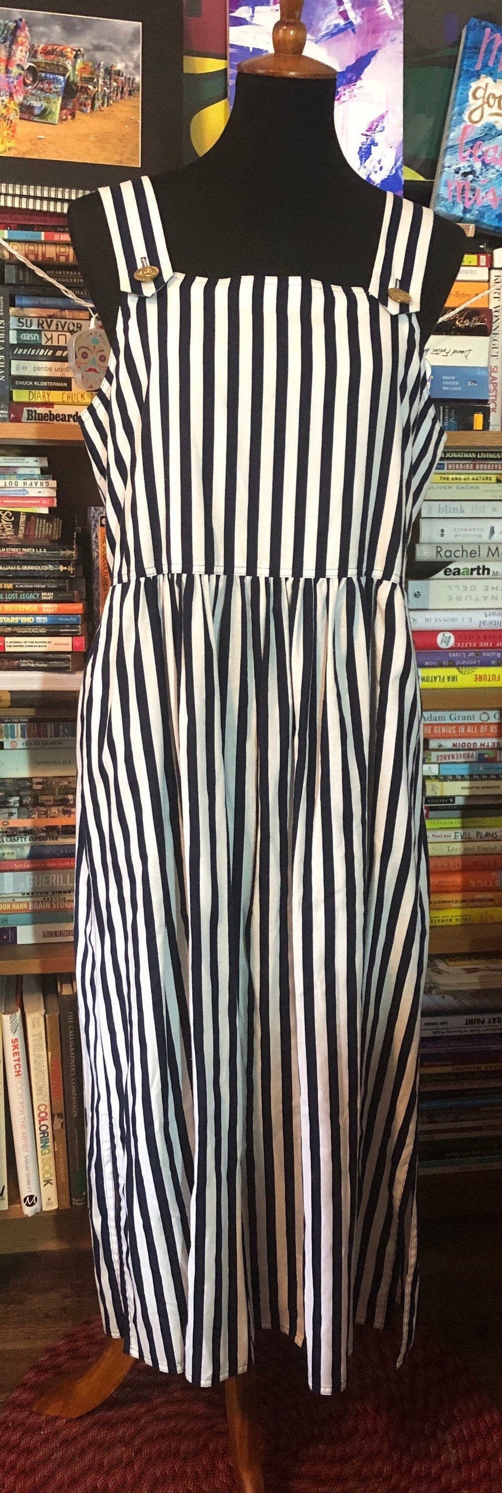 Vintage Aprons, Retro Aprons, Old Fashioned Aprons & Patterns 70s80s California Design By Dorothy Samuel Nautical Stripe Apron Dress $42.00 AT vintagedancer.com