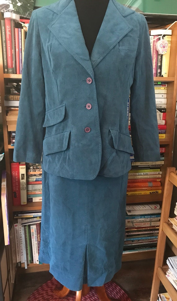 70's Turquoise Faux-Suede I. Magnin Skirt Suit
