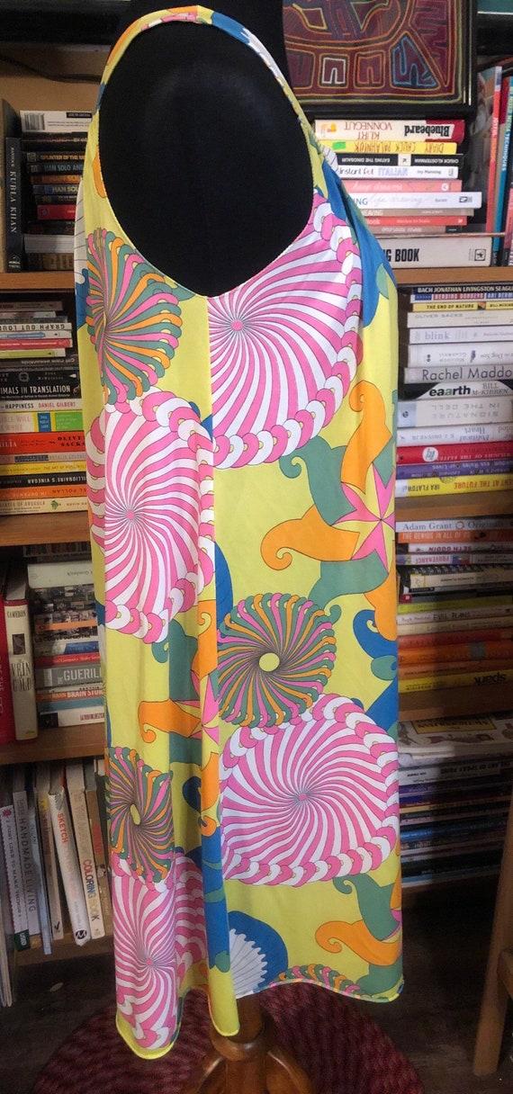 60's/70's Neon Psychedelic Print Nylon Nightie - image 5