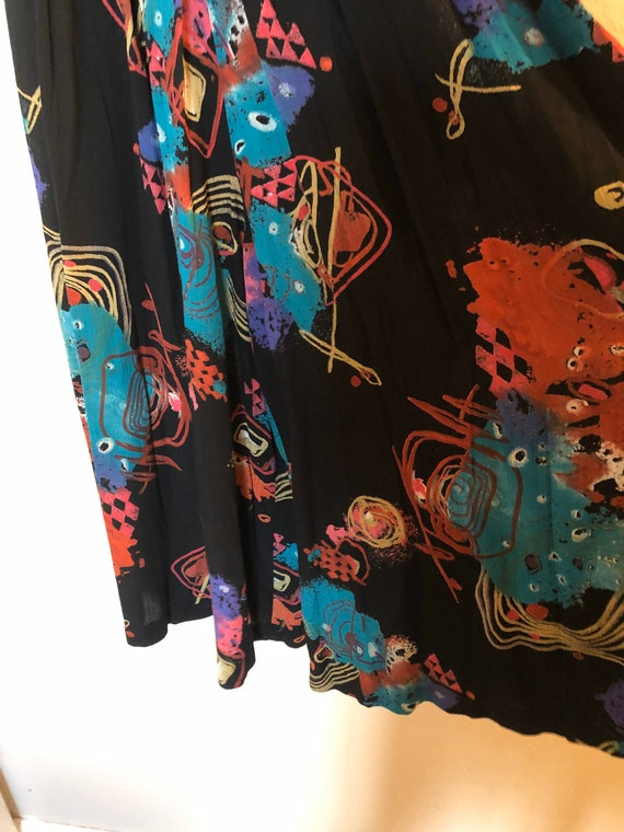 80's/90's Abstract Printed Wide Leg Pants by Laur… - image 5