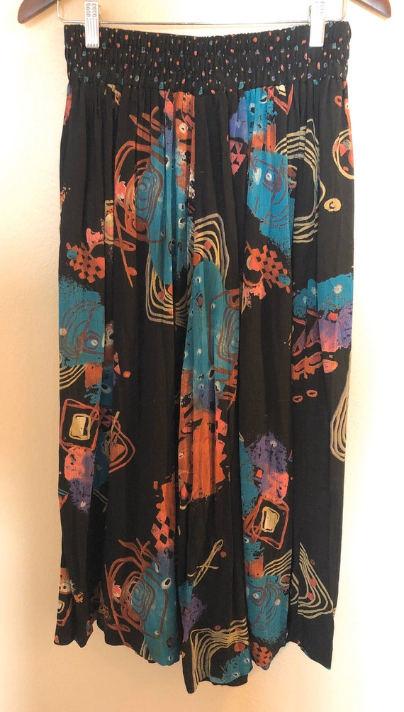 80's/90's Abstract Printed Wide Leg Pants by Laur… - image 2