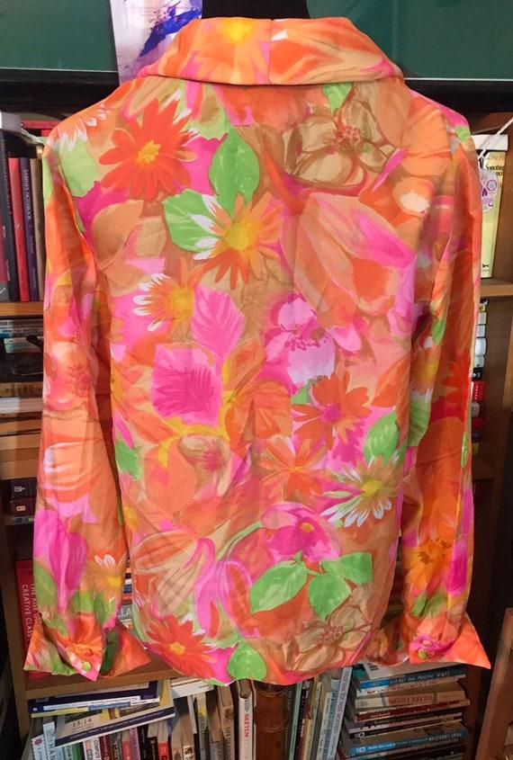 70's Neon Floral Nelly de Grab New York Button Fr… - image 4