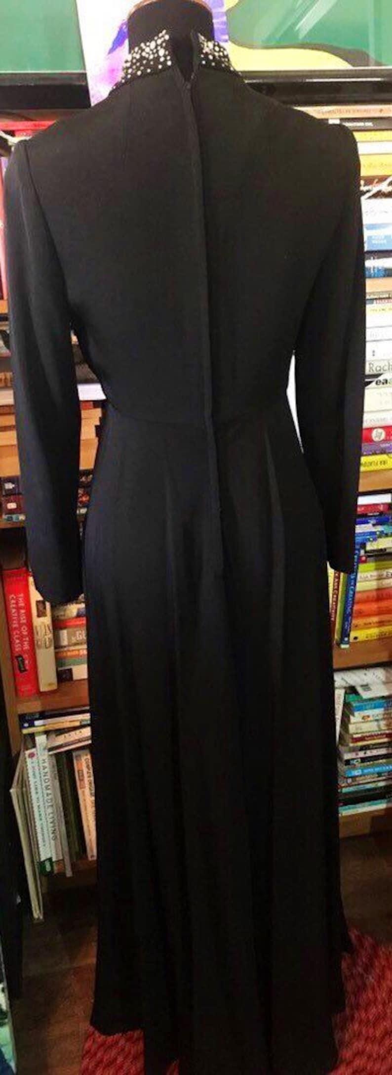 1960/'s Rhinestone Collar Long Sleeve EveningFormal Dress by Jane Justin for Don Sophisticates