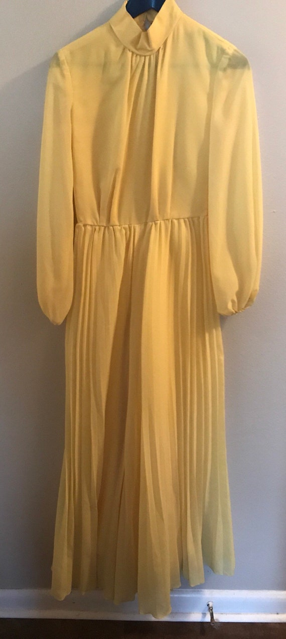 70's Lenny K Bright Yellow Wide Leg Pleated Pant J