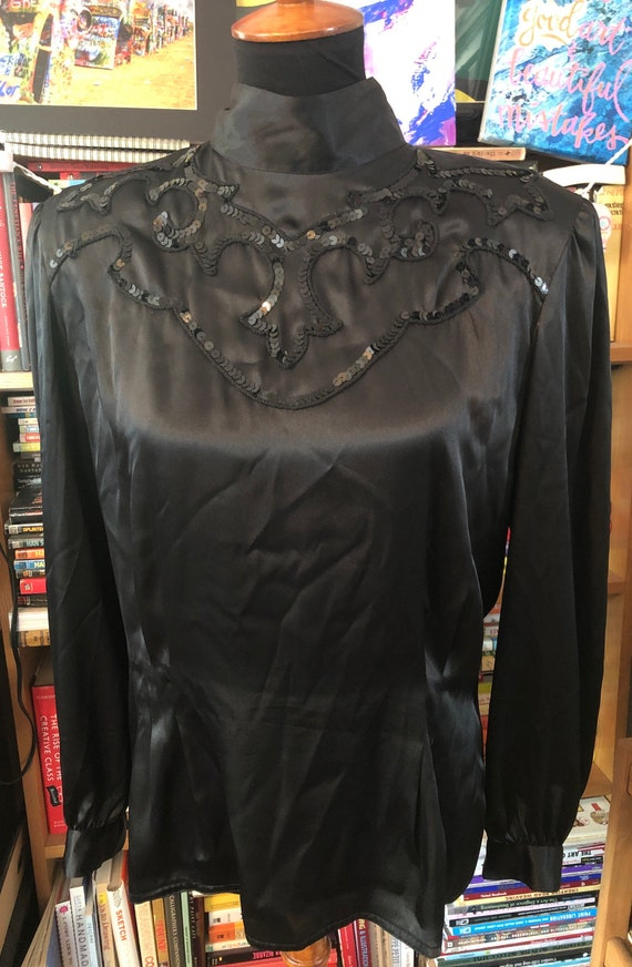 1980's Sequined Button Back Blouse by Nilani