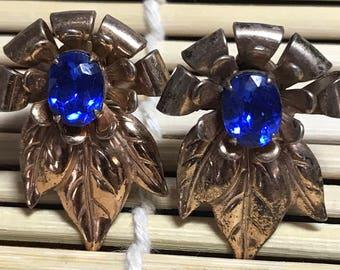 Sterling Silver Leaf Shaped Screwback Earrings W/Blue Paste Stones