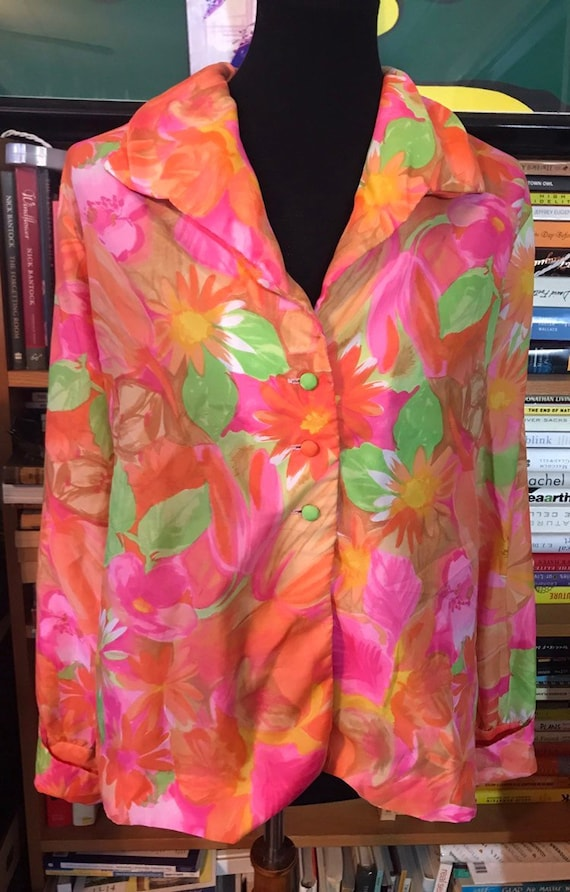 70's Neon Floral Nelly de Grab New York Button Fro