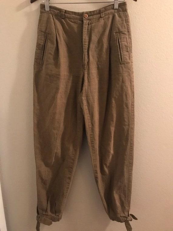 1970's Happy Legs Cotton Linen Ankle-Tie Pants
