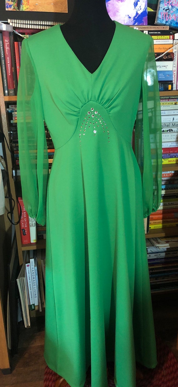 70's Bright Green Polyester Evening Dress with She