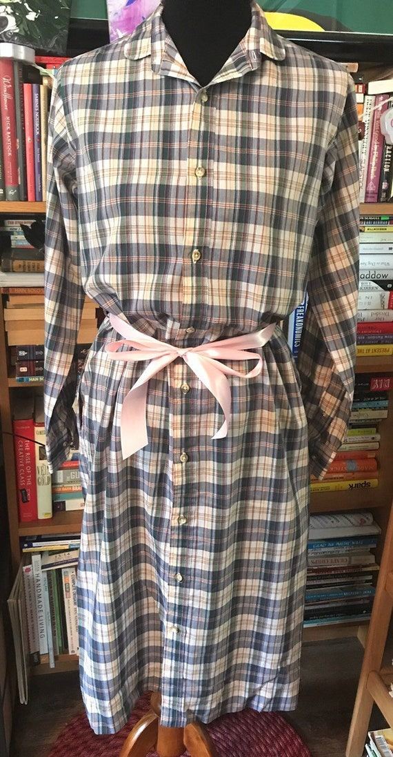 1980's Plaid Shirtdress by Lady Norman