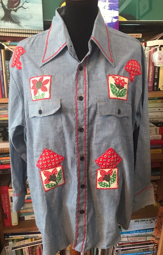 Groovy 70's Wrangler Chambray Shirt with   Hand Em