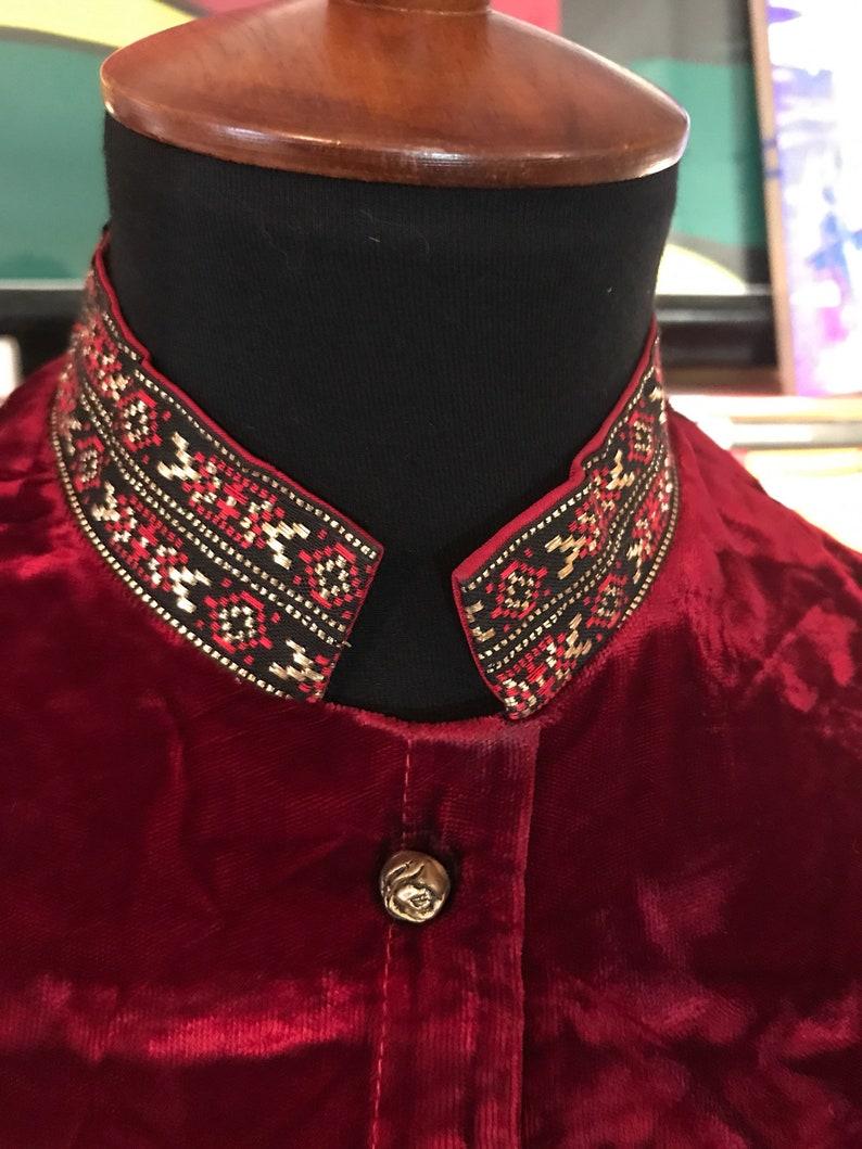 1960/'s Artbro Brand Nehru Collar Crushed Velvet TunicMinidress