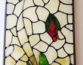 A bespoke Art Nouveau 1920s Tiffany style inspired, stained glass leaded Red Poppy panel with mirror border. 15x50cm. By Douglas Payne