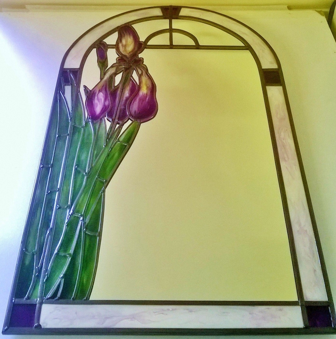 A bespoke Art Nouveau Tiffany inspired stained glass effect