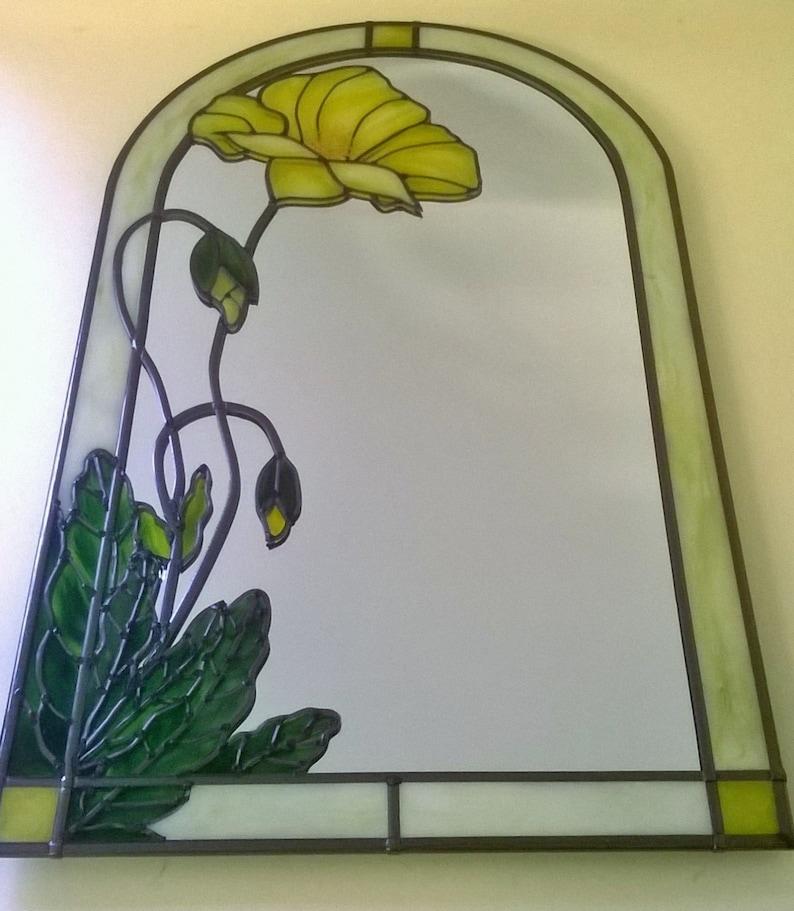 Art Nouveau Inspired California Poppy By Mason Larose: A Bespoke Art Nouveau Tiffany Inspired Yellow Poppy
