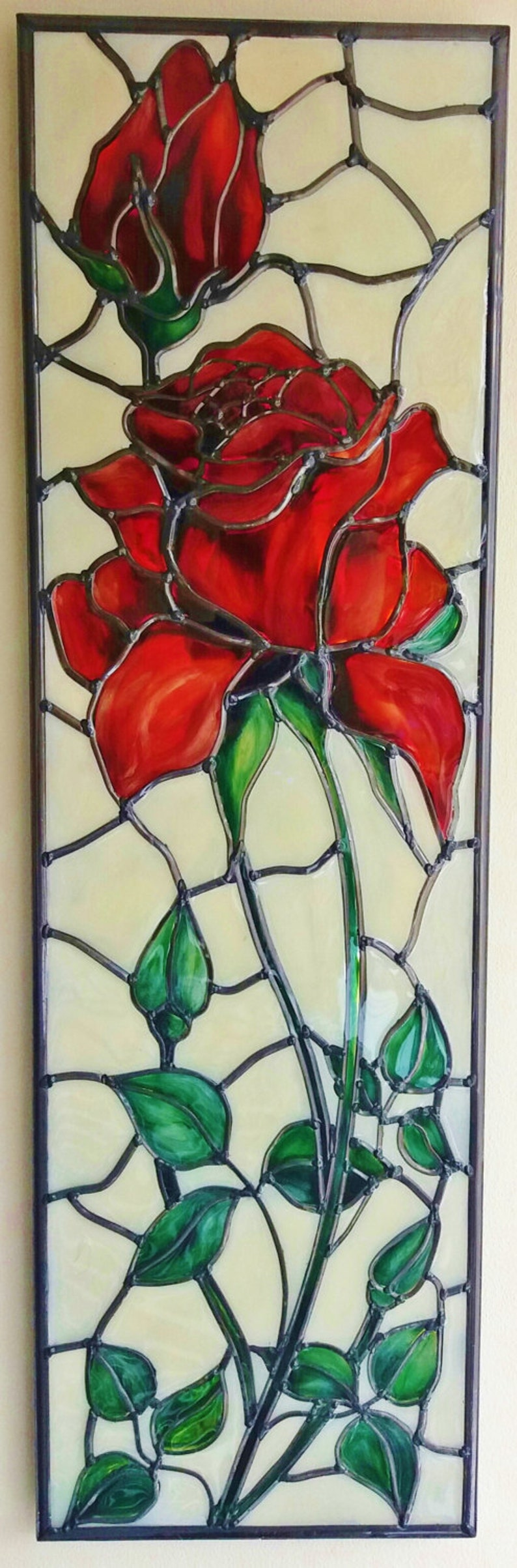 Red Rose  A bespoke Art Nouveau  Tiffany style and inspired image 0