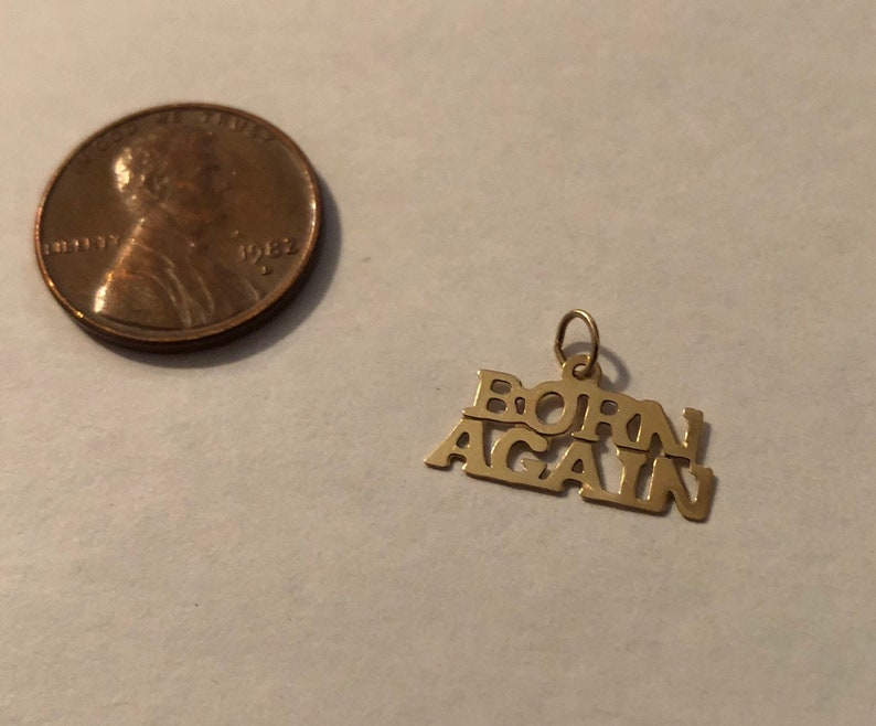 NEW 14K SOLID YELLOW GOLD RELIGIOUS BORN AGAIN CHARM PENDANT