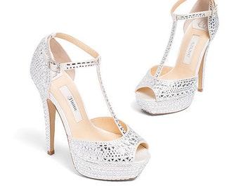 9c0fd9ba7c9 Ivory Satin Tulle Floral Wedding Shoes. Bridal Sandals for