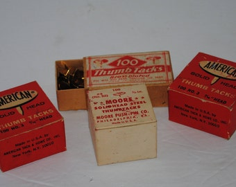 Vintage boxes of thumb tacks - from 1950s. American, Moore, and  Made in Germany