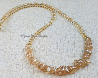 Champagne Luster Crescent Necklace