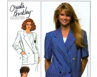 80s Simplicity 9103 Christie Brinkley Collection Double Breasted Jacket, Uncut, Factory Folded, Sewing Pattern Size 6-10
