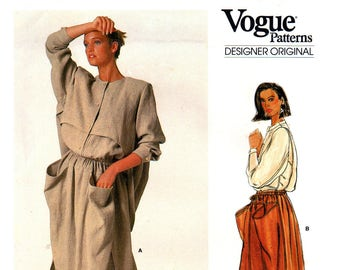 80s Vogue Designer Original 1381 Rare Issey Miyake Loose Fitting Jacket and A-Line Skirt, Uncut, Factory Folded, Sewing Pattern Size 10