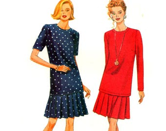 90s Butterick 5745 Loose Fitting, Pullover Top with Long or Short Sleeves and Pleated Skirt, Uncut, Factory Folded Sewing Pattern Size 10-12