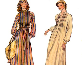 70s Vogue 9123 Boho Front and Back Tucked Dress in Two Lengths, Tie Belt and Kerchief, Uncut, Factory Folded Sewing Pattern Size 8