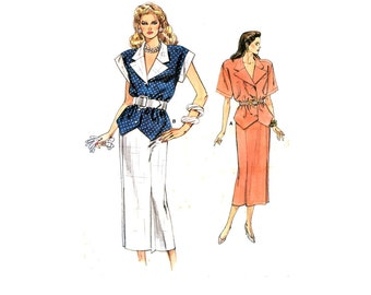80s Vogue 9903 Top with Notched Collar, Shaped Hemline, Two Sleeve Lengths and Straight Skirt, Trimmed Sewing Pattern Size 8-10-12