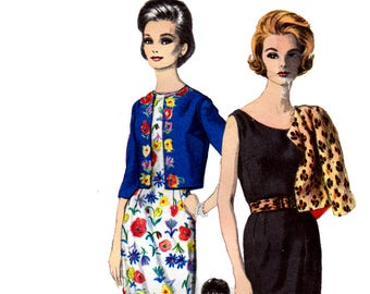 60s Vogue Special Design 5578 Sleeveless Sheath Dress with Scoop Neckline and Bolero Jacket, Vintage Sewing Pattern Size 14 Bust 34