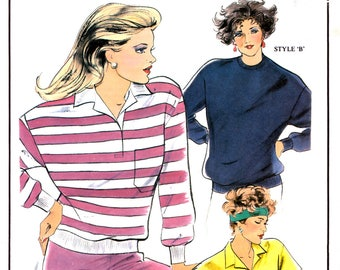 90s Sew Easy 107A Activewear: Loose Fitting Rugby Top with Long or Short Sleeves, Uncut, Factory Folded Sewing Pattern Multi Size 8-26