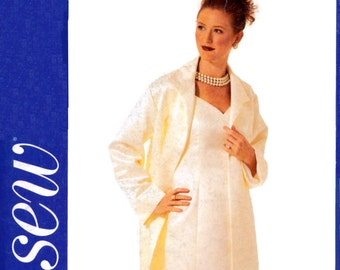 2002 See and Sew 3431 Loose Fitting, Lined Formal Duster & Dress, Mother of the Bride, Uncut, Factory Folded Sewing Pattern Plus Size 20-24