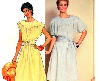 80s Butterick 4794 Yoked Dress with Square Neckline and Two Sleeve Lengths, Uncut, Factory Folded Sewing Pattern Size 14 or trimmed 12