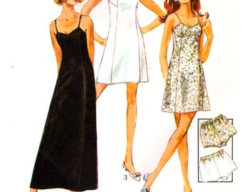 70s Simplicity 8483 Lingerie: Slip with Neckline Variations in Two Lengths and Panties, Uncut, Factory Folded, Sewing Pattern Size 10