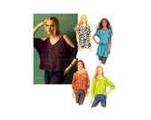 Butterick 5889 Oversized Top or Tunic with Sleeve Variations, Uncut, Factory Folded, Sewing Pattern, Multi Size 4-14
