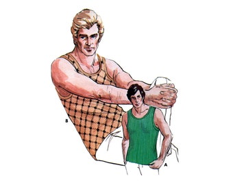 Kwik Sew 539 Men's Tank Tops with Ribbed Neck and Armhole Bands, Uncut, Factory Folded, Sewing Pattern Multi Size 34-48