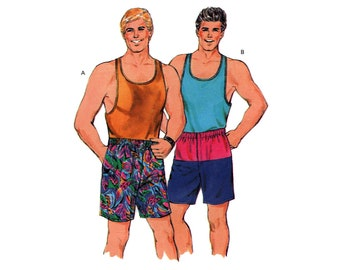 Kwik Sew 1592 Mens' Tank Top with Scoop Neckline, Wrestling Back and Shorts, Uncut, Factory Folded Sewing Pattern Multi Size S-XL