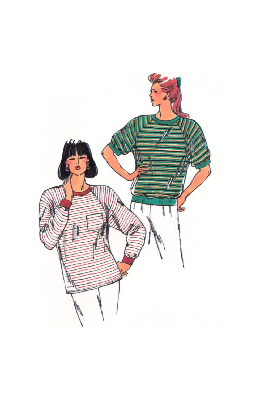 90\'s Kwik Sew 1976 Long or Short Raglan Sleeved T-Shirts | Etsy