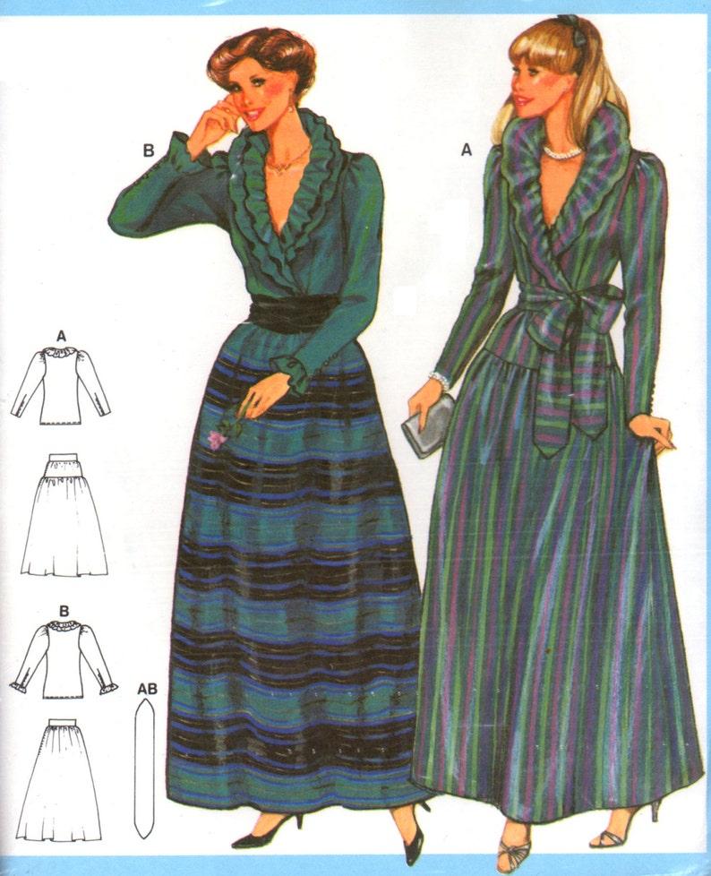 80 s Burda 7671 Two-Piece Evening Dress with V-Neck Wrap  90cfa4345