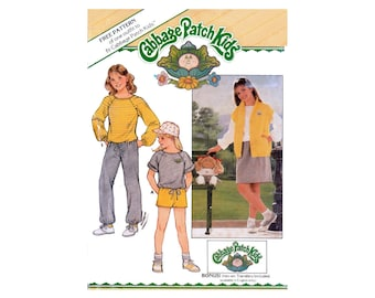 Butterick 6706 Cabbage Patch Kids Top, Vest, Skirt, Shorts and Pants with Transfer, Uncut, Factory Folded Sewing Pattern Size 12-14