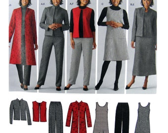 2004 Simplicity 4789 Pants, Vest, Jacket and Jumper, Each in Two Lengths, Uncut, Factory Folded Sewing Pattern Multi Plus Size 20-28