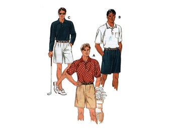Kwik Sew 2763 Men's Long and Short Sleeve Shirts and Golf Shorts, Uncut, Factory Folded, Sewing Pattern Multi Size 34-52