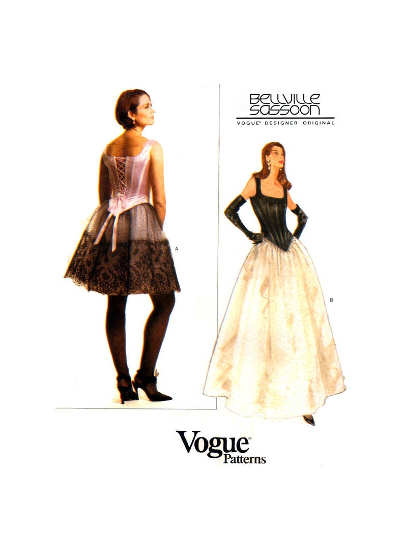 90s Vogue Designer Original 1605 Bellville Sassoon Evening Corset Style Top  and Flared Skirt, Partially Cut, Sewing Pattern Size 12-14-16